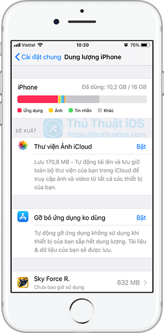 dung luong iphone ios 11