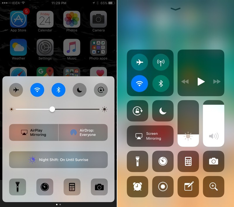 iOS-10-vs-iOS-11-Control-Center