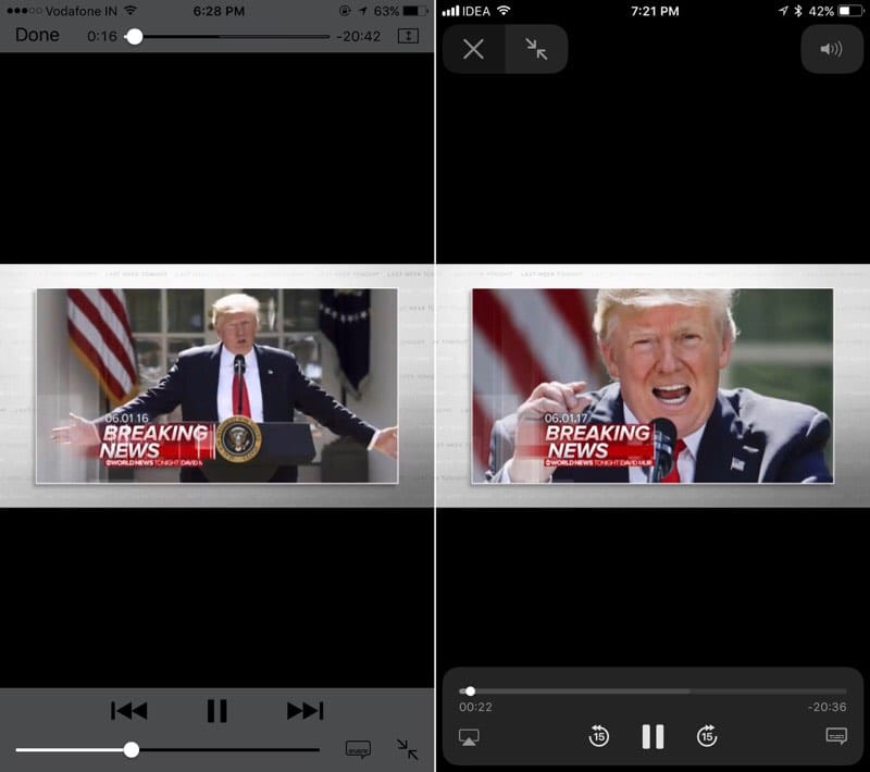 iOS-10-vs-iOS-11-Video-player