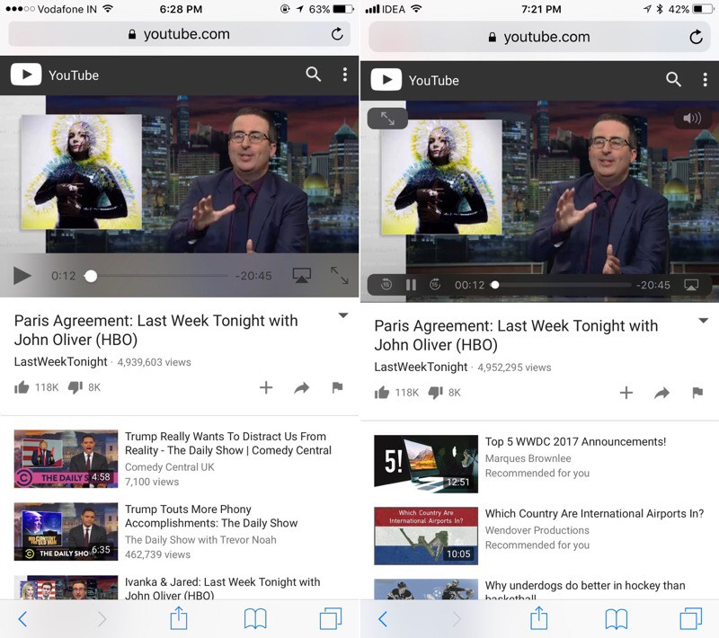 iOS-10-vs-iOS-11-video-player-youtube