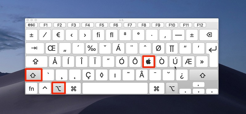 macOS Mojave keyboard viewer apple logo symbol